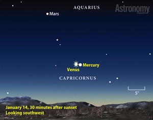Mercury and Venus finder chart