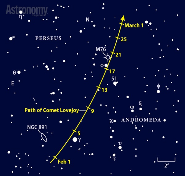 Path of Comet Lovejoy finder chart