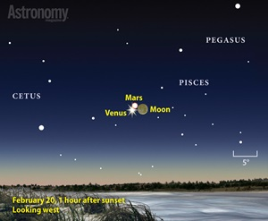 Waxing crescent moon finder chart