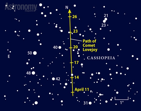 This Oort Cloud visitor continues its northward trek through Cassiopeia in April.