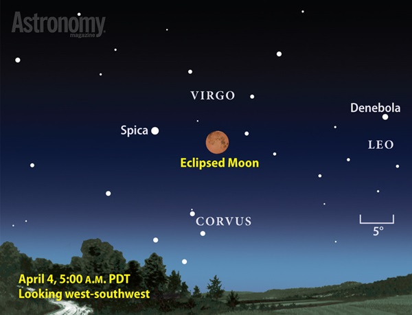 The eclipsed Moon of April 4 stands among the background stars of Virgo, just 10° from 1st-magnitude Spica.