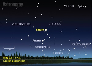 Saturn comes to peak visibility May 22, when it shines brightly in the south-eastern sky after darkness falls.