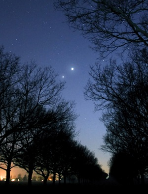 Brilliant Venus passed a few degrees to Jupiter's upper right in evening twilight March 14, 2012.
