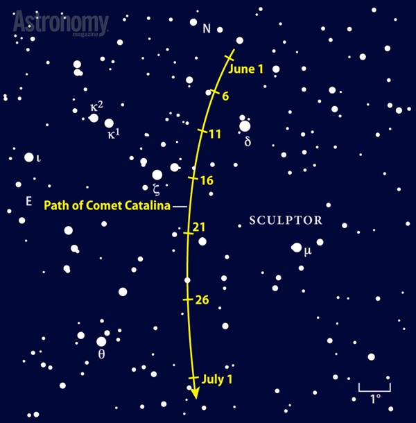 Comet Catalina should glow at 8th or 9th magnitude in June as it chisels its way south through Sculptor.