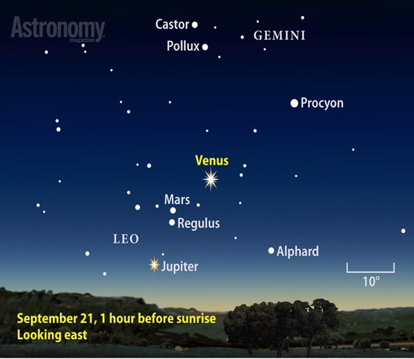 "The morning ""star"" gleams at its brightest of the year September 21, though it remains a beacon all month."