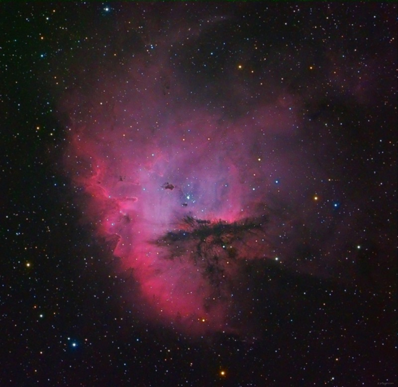 The Pacman Nebula (NGC 281) is an emission nebula in the constellation Cassiopeia the Queen.