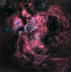 The War and Peace Nebula (NGC 6357) is a diffuse nebulous complex in the constellation Scorpius.
