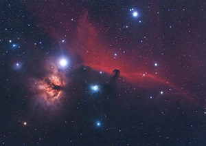 The Horsehead Nebula (Barnard 33) in the constellation Orion the Hunter is one of the most famous dark nebulae in the sky.
