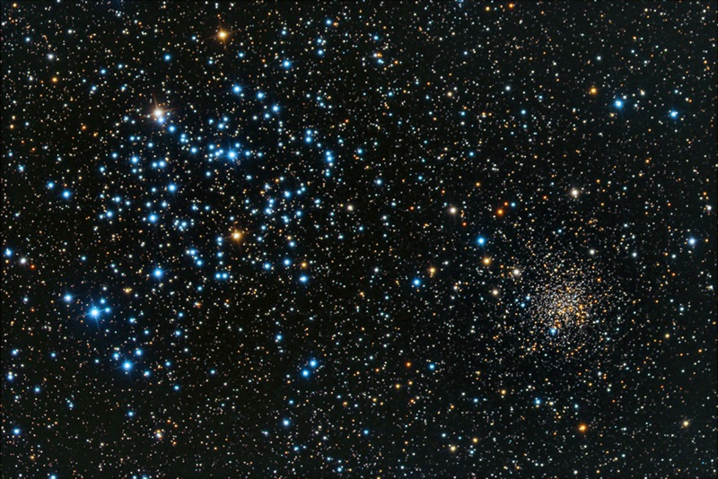 Open clusters M35 (the bright one) and NGC 2158 float through space within the confines of the constellation Gemini the Twins.