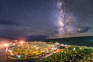 Stars and the lights of Yaqing Temple in China
