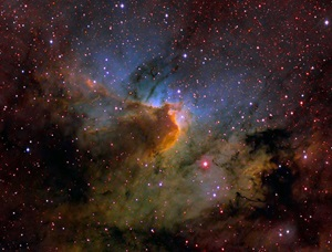 The Cave Nebula through Hubble palette filters