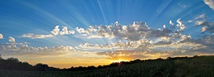 Crepuscular rays at sunset