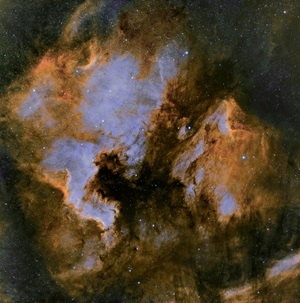 The Pelican Nebula in false color