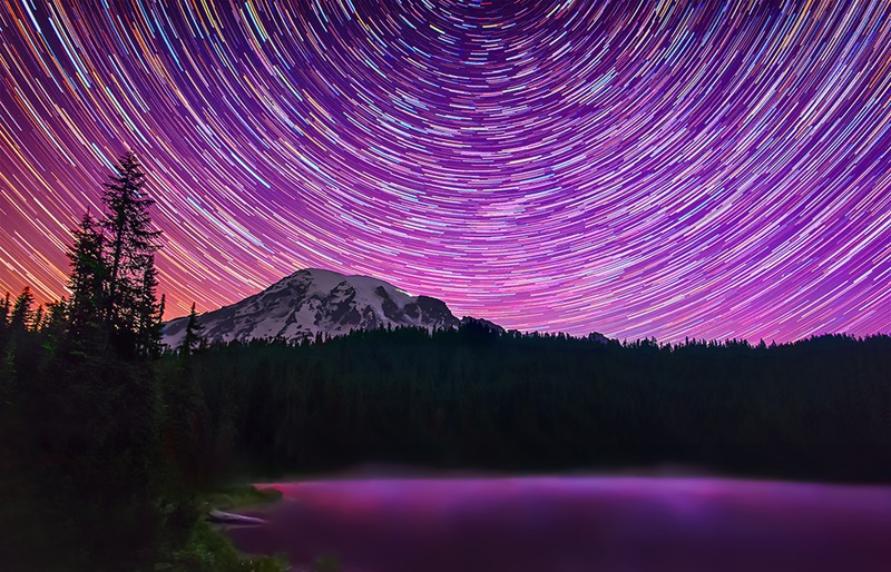 Colorful star trails above Mount Rainier