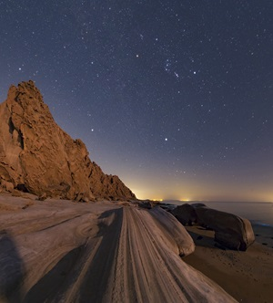Orion rising over the Persian Gulf coast