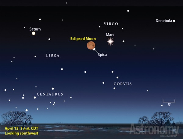 Finder chart for the April 2015 lunar eclipse