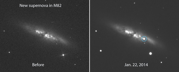 Bright new supernova blows up in the Cigar Galaxy (M82 ...