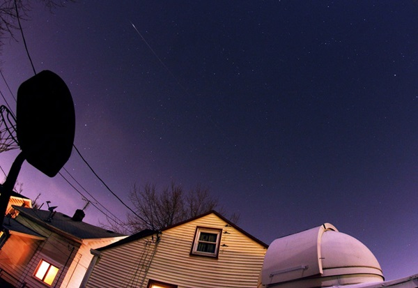 An observer in Ohio catches a Quadrantid meteor in 2012.