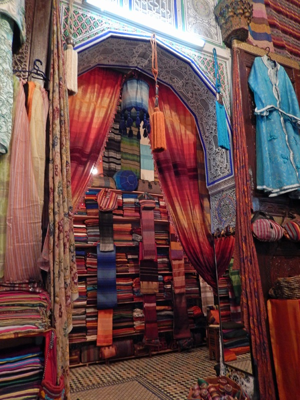 You can find material in any color you'd like in the markets in Morocco.