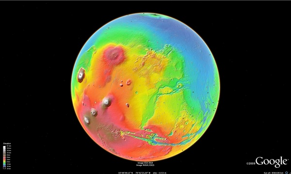 Google Mars 3D colorized terrain