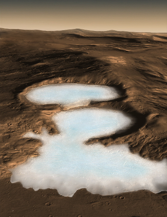 Illustration of glacier on Mars