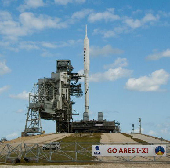 Ares I-X rocket on Launch Pad 39B at Kennedy Space Center