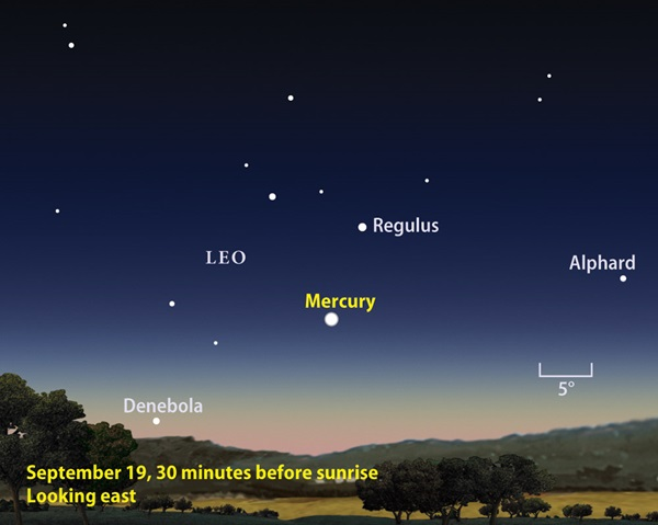 Mercury greatest western elongation September 2010