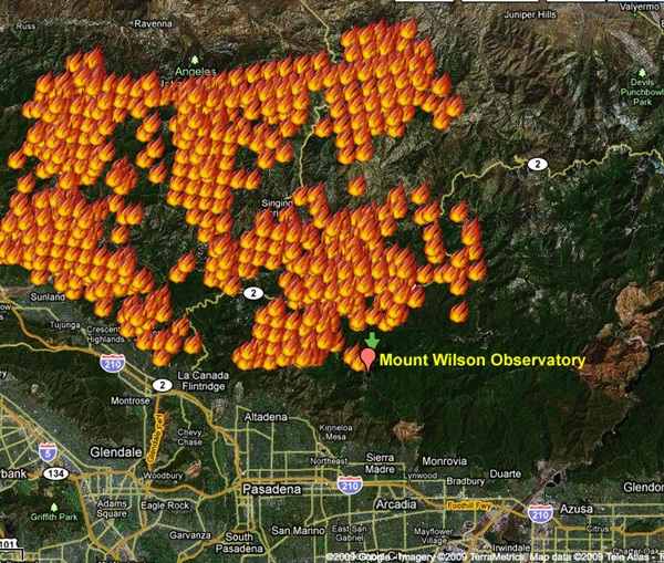 Map of 2009 California wildfire - Station Fire