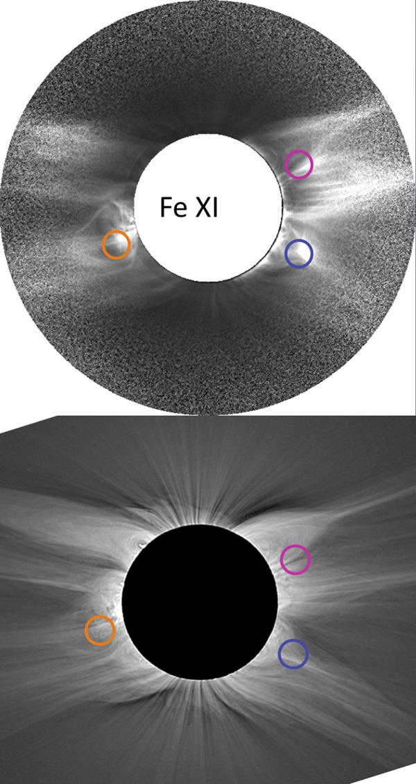 Solar corona Fe XI 789.2 nm comparison