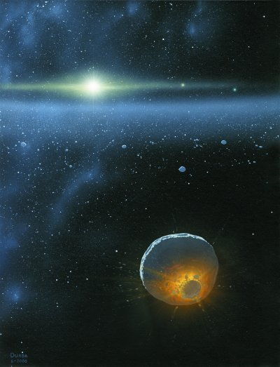 Collision in the Edgeworth-Kuiper Belt