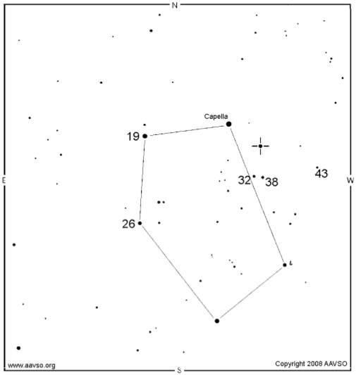 Epsilon Aurigae location and nearby star magnitudes
