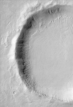Crater with Gullies and Snow