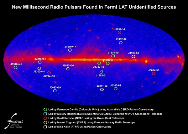 Fermi millisecond pulsars map