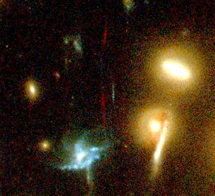 High redshift galaxy in Abell 2218