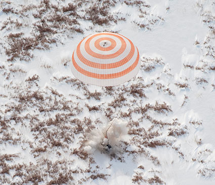 Soyuz TMA-16 spacecraft is seen as it lands in Kazakhstan