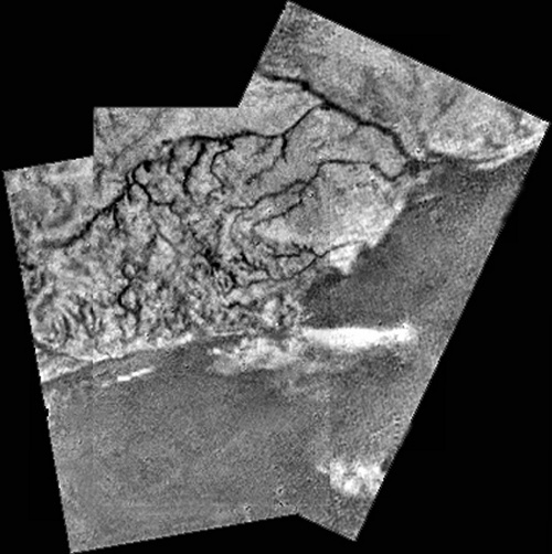 Titan: Huygens mosaic of a ridge and river channels