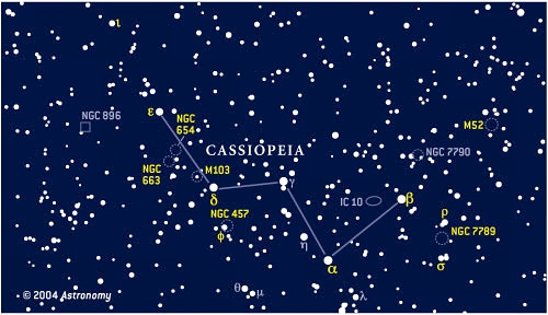 Finder chart for objects in Cassiopeia