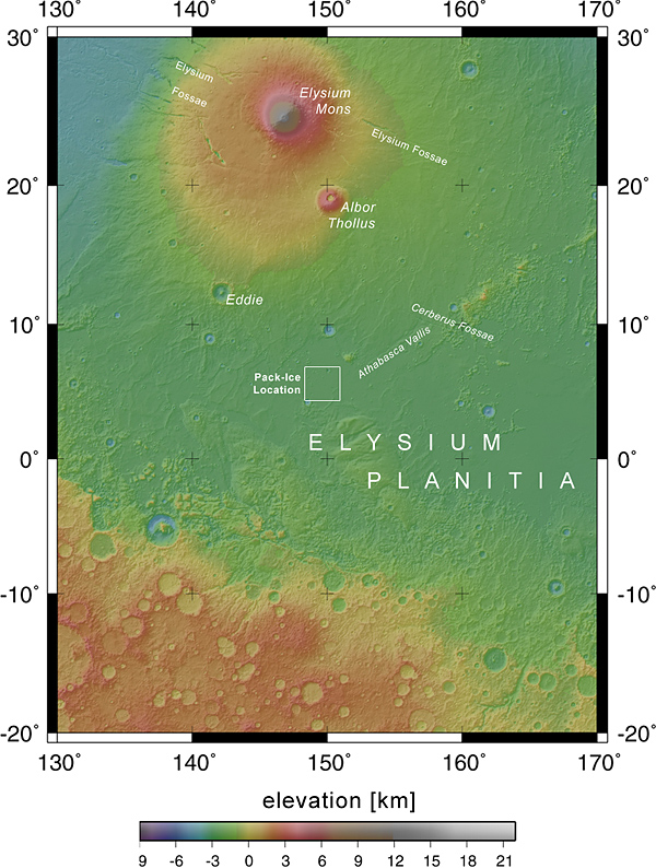 Elysium Planitia locator map