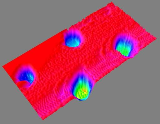 3D Color Digital Elevation Map of AFM Sample