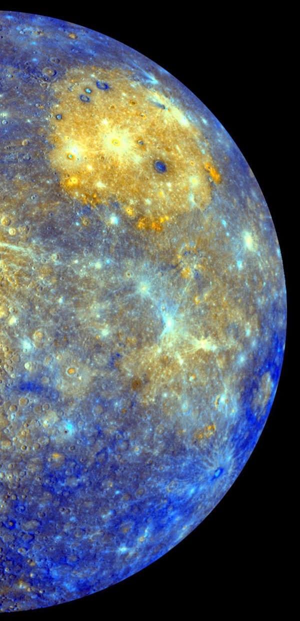 False-color view of Mercury
