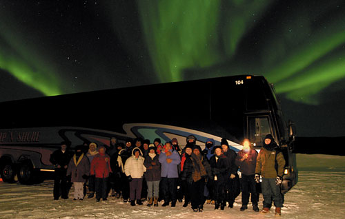 Tour bus to the northern lights