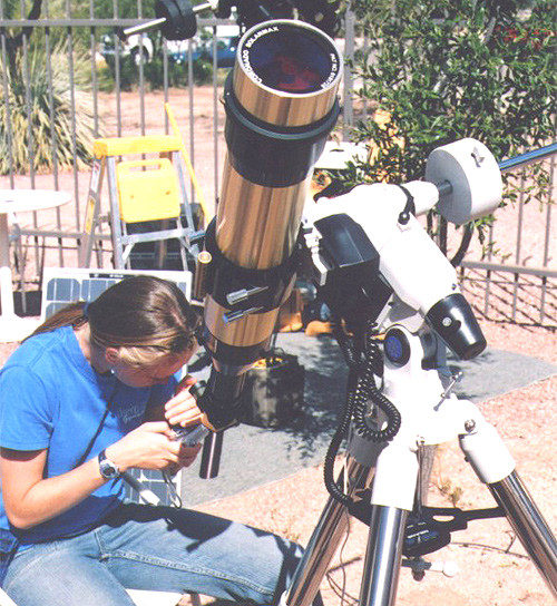 Workshop participant observing Sun