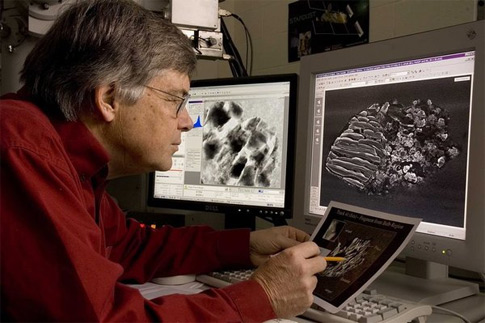 Don Brownlee examining images of Stardust tracks