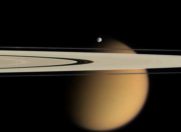 Saturn, Epimetheus, and Titan