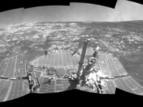Opportunity's view at Victoria Crater