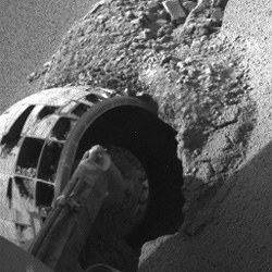 Opportunity's wheel in a sand trap