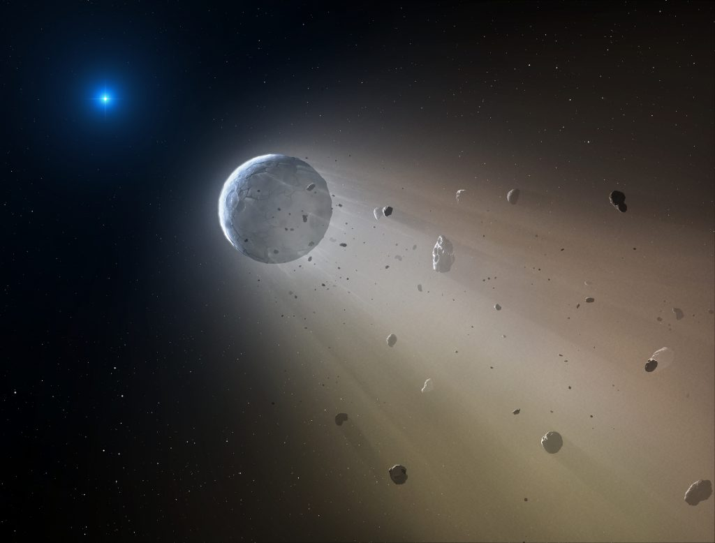 Planets and meteors in space