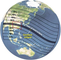 Asian solar eclipse path of totality