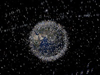 Space debris satellites around Earth