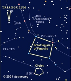 Finder chart for Triangulum, the Circlet, and the Great Square